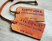2 Custom Leather Luggage Tags - Up to 4 lines - Unique Gift for Boyfriends, Husbands, Brothers, 2011 Graduation, Fathers Day, or Summer Vacation Travel.