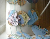 Recycled Map Paper Garland One World