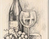 WINE AND CHEESE - Rubber Stamp