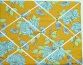 Designer Aqua Flower on Mustard Memory Board French Memo Board 20X16 Amy Butler on Etsy