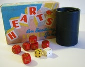 vintage game HEARTS letter dice game