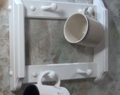 White Cup rack for coffee tea  4 peg