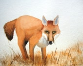 Hey Foxy - 9x11 inch Original Watercolor Painting