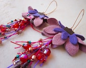 Flower leather earrings with colorful threads, glass and czech crystal beads - 10% off with coupon code FEBPOA