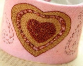 Hand Stitched Embroidery Embroidered Cuff Valentine Wrist Cuff Wool Felt Beaded