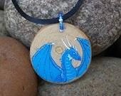 Blue Dragon Painted Pendant