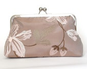 Silk Floral Frame Kisslock Clutch