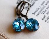 Vintage Aqua Blue Jewel Earrings. Something Blue