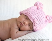 Pink Baby Bear Hat - Photo Prop - Matching Diaper Cover Available