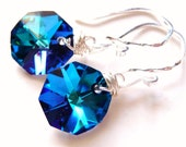 Bermuda Blue Crystal Octagon Briolette Handmade Earrings - Sterling Silver Dangles