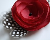 SALE Nicole - Red Satin Flower with Spotted Guinea Feathers Hair Clip or Brooch
