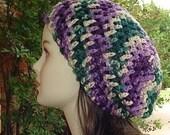 Purple Sage hippie dreadlock beanie tam hat