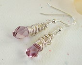 ICE ROSE PETALS - WIRE WRAPPED STRELING SILVER EARRINGS by gemboxjewelry