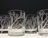 4 Drinking Glasses, Double Old Fashioned  . Hand Engraved 'Reaching Branches' . Featured On The Front Page