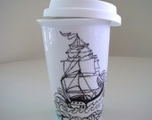 Ceramic Travel Mug Eco Friendly Ship Tattoo Nautical Sailor black white Painted by sewZinski on Etsy