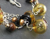 Gold artisan lampwork, triple strand, pearls and coral necklace