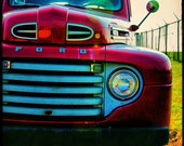 The  Sunday Drive- vintage inspired photograph of a beautiful ruby red 1950s  Ford Truck-  11x14 Metallic Fine Art Photo Print