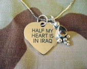 Half My Heart Is In Iraq Customizable Heart Charm Necklace with Citrine Pendant by Outside Cat Art.