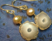 Solar Quartz and Pearl 18K Gold Earrings