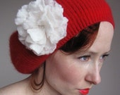 Red Angora Beret With White Rose Hand Felted From Wool