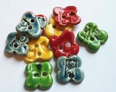 Multi Colour Rounded Flower Ceramic Buttons