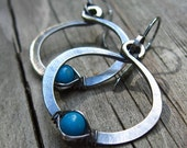 Cold Forged Sleeping Beauty Turquoise Hoops
