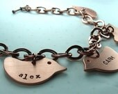 Mama bird personalized charm bracelet, 2 birds