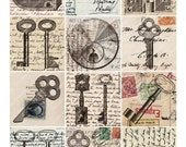 New -- Steampunk Hardware on Vintage Postcards in 2.5 inch squares -- piddix digital collage sheet no. 543