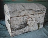 Handmade Birch Bark Treasure Chest card box, for a rustic, nature, fairytail, woodland, outdoor weddings.