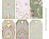 Hang Tags Digital Download no.247 Soft Pink Old Greens Antique Wallpaper Collage Sheet Tattered Vintage 247
