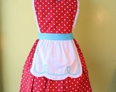 I LOVE LUCY ...... RETRO fifties RED POLKA DOT APRON flirty hostess gift womens full apron