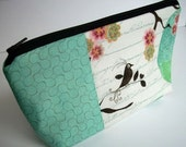 Double Blush Bird Aqua-Large Flat bottom zipper pouch (Padded)