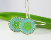 Turquoise and lime green flower - Silver and resin Dangle Earrings