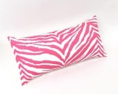 Hot Pink Zebra Lumbar Pillow 8 by 17 inches