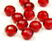 8mm Red Crystal Bead Faceted Quartz Bead Loose Beads 50pcs Czech Bead