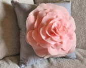 Light Pink Rose on Light Grey Pillow