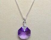 Stylish Crystal Blue Violet Necklace
