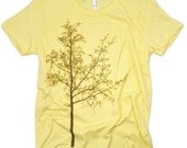 Tree Silhouette Lemon Yellow Graphic Nature Tee Shirt