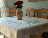 Vintage White Linen with Green Cross Stitch, Hand Embroidered Table Cloth, 80 X 60 inches.
