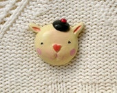 French rabbit - Brooch - modelling paste
