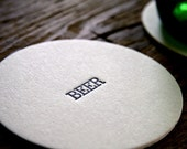Beer Letterpressed Pub Coasters - Set of 4