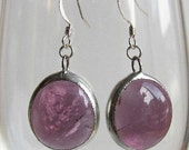 Violet Purple Glass Stained glass earrings