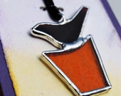Abstract Bird Stained Glass Pendant Necklace (291)