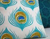 Peacock Feather linen pillow case