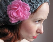 15 %  OFF SALE Dark Grey Knit Beret With Pink Rose Hand felted
