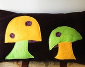 Mushroom Eco Felt Applique Pillow - Yellow and Green - Ready to Ship