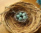 Custom Rustic Robin's Nest Necklace in sterling silver, you choose number of eggs