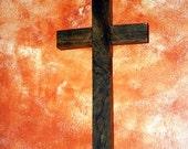 Rustic Barnwood Cross, Dark Brown Waxed, 9 x 18- Handmade