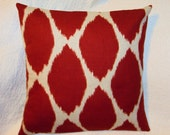 FREE SHIPPING Red Ikat West Elm Designed Fabric Pillow Cover