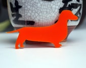 Crazy Dachshund Lady brooch - custom colour - acrylic or wood